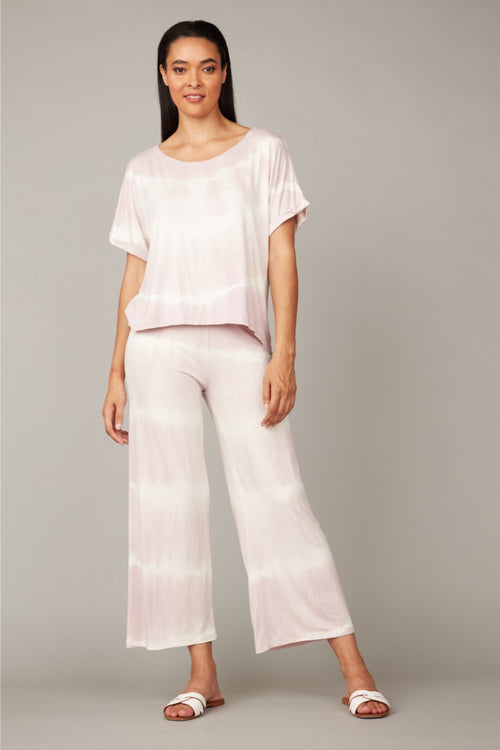 Pistache - Tie Dye Cropped Pants in Pale Pink