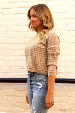 Pistache - Waffle Cropped Crew Neck Knit in Oatmeal