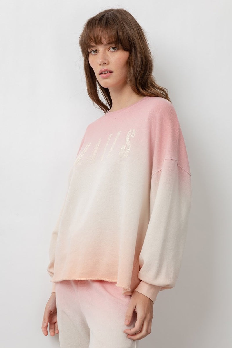 Rails - Signature Sweatshirt in Pink Peach Dip Dye