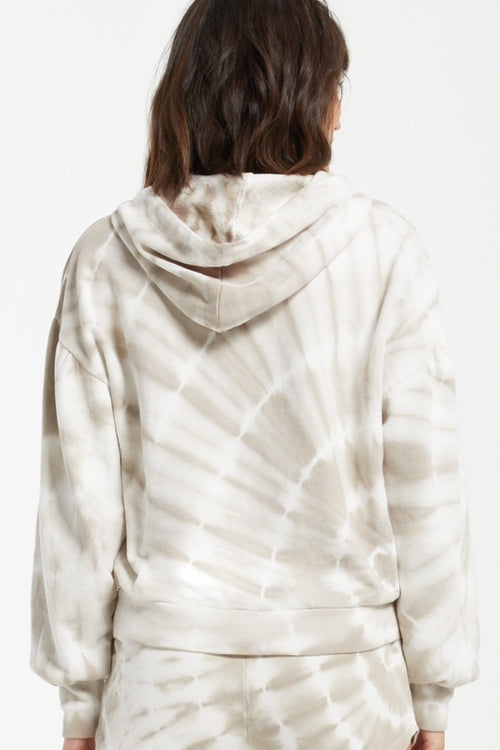 Z-Supply - Eva Spiral Tie Dye Hoodie in Taupe
