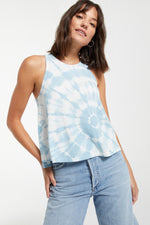 Z Supply - Astral Spiral Tie Dye Tank in Blue Agave