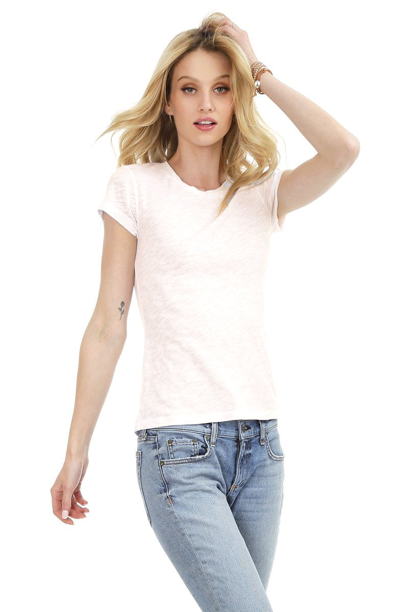 Bobi - Simple Crew Neck Tee in Cream