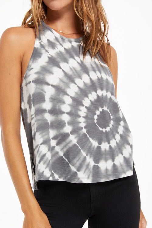 Z Supply - Astral Spiral Tie Dye Tank in Charcoal