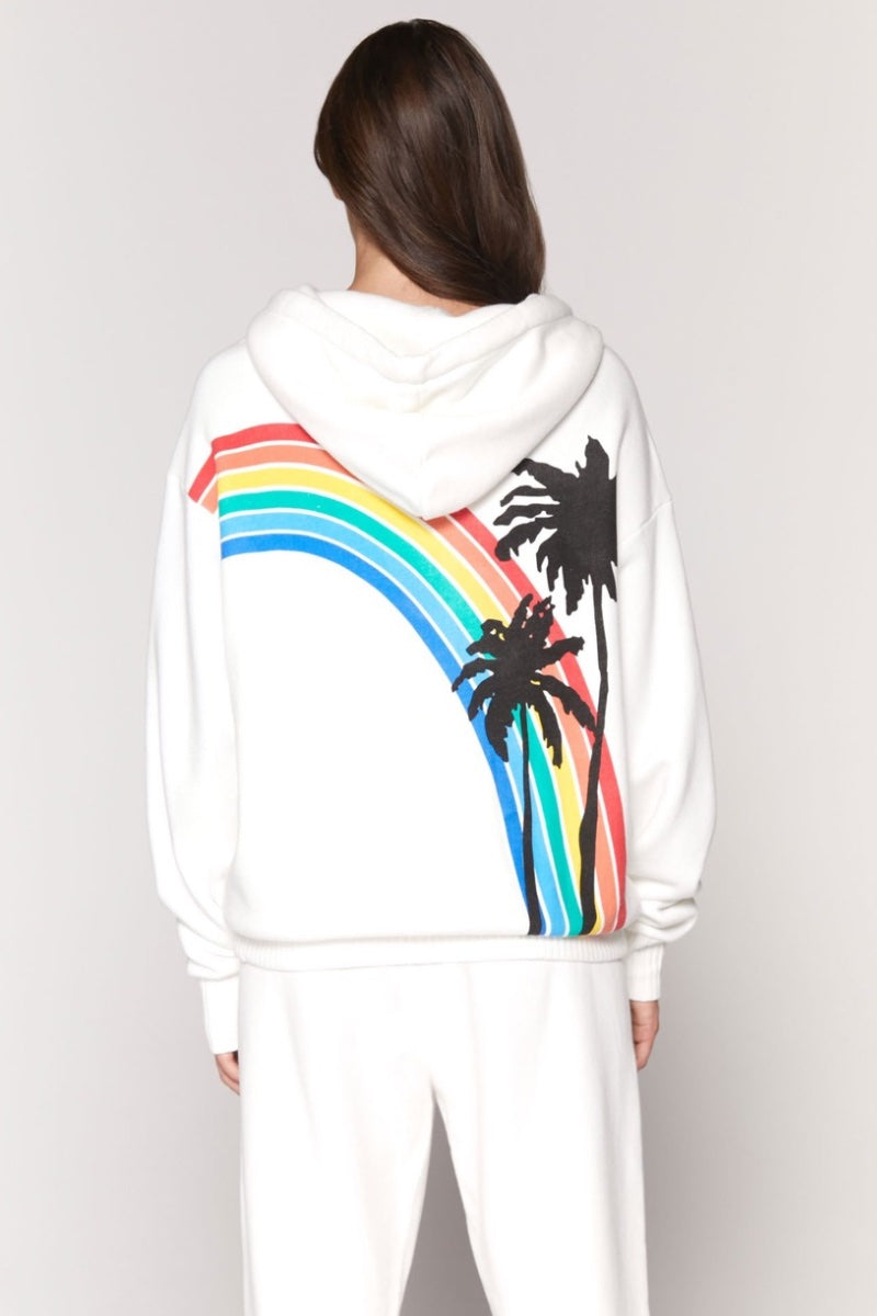 Spiritual Gangster - Palm Finne Zip Hoodie in White - Heidi-Ho2