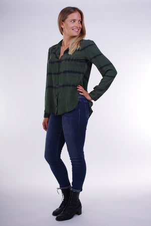 Bella Dahl Fray Hem Flowy Button Down in Cactus