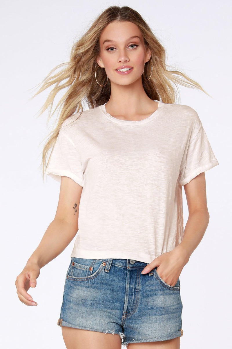 Bobi - Short Sleeve Crop Tee in Cream