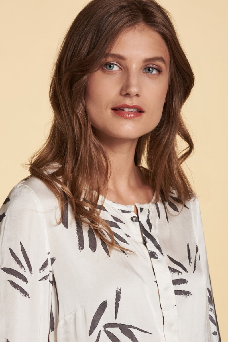 Nile - Satin Print Blouse in Off White
