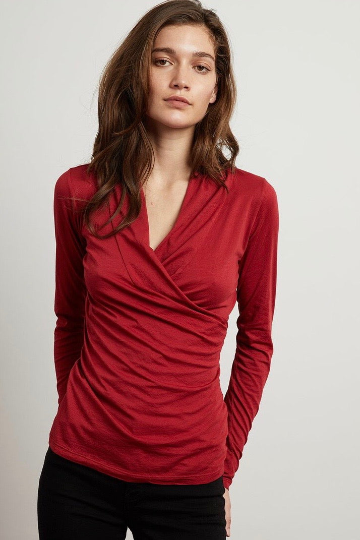 Velvet -  Brick Red Wrap Top - HeidiHo2