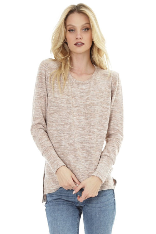 Bobi - High low Knit Tee in Blush Heidi-Ho2