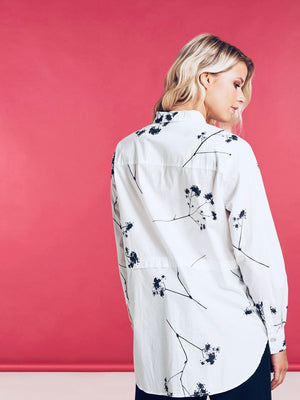 Nile Long Off White Print Shirt - HeidiHo2