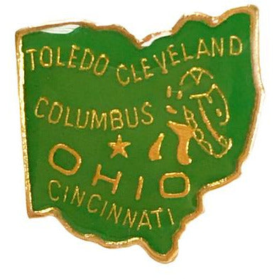 Small Green Ohio Lapel Pin
