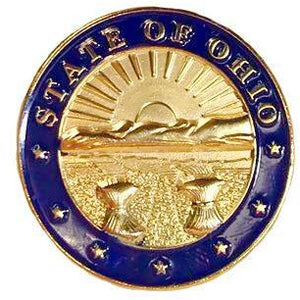 Gold and Navy Ohio Coat of Arms Lapel