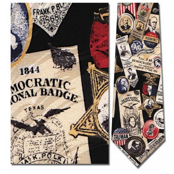 Democratic Memorabilia, Campaign Buttons Neck Tie
