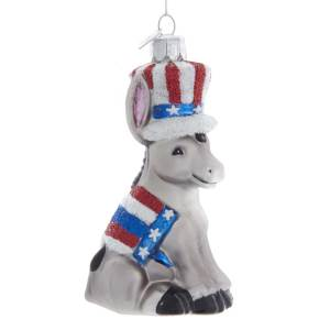 Glass Donkey Ornament Democrat