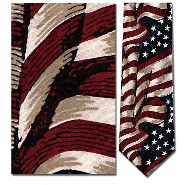 Large Waving American Flag Neck Tie