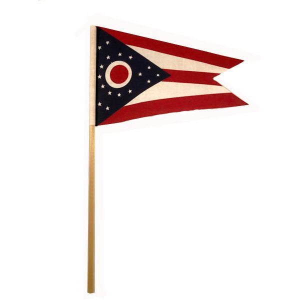 Small Ohio Muslin Flag on a stick