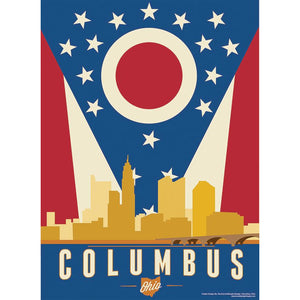 Columbus Skyline And Flag Poster 12 x 18