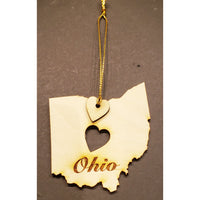 Wooden Ohio Heart Ornament