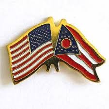Ohio and U.S.  Flag Lapel pin