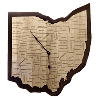 Wooden Ohio County Map Clock