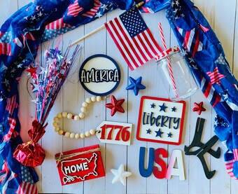 3-D Patriotic Set for Tiered Tray - Finished OR Paint it Your Way