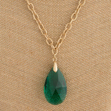 Teardrop Crystal Pendant Necklace - 2 Colors Available