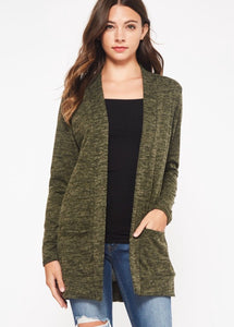 Heather Cardigan - Olive & Charcoal -  Small