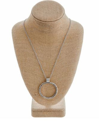 Silver Circle Pendant Cable Chain Necklace