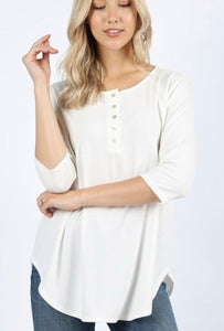 3/4 Sleeve Button Up Top - 2 colors!
