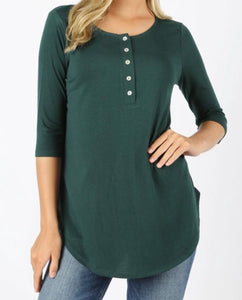 3/4 Sleeve Button Up Top - small green