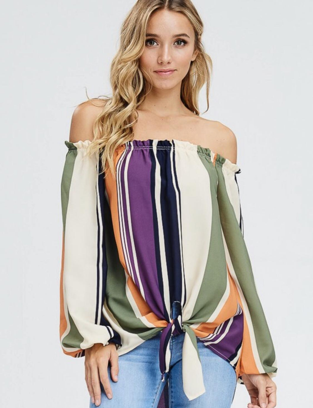 Woven Striped Off the Shoulder Tie Front Top - Small