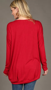 Long Sleeve Keyhole Top - red & tan small