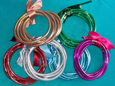 Glitter Filled Jelly Bangle bracelets - 5 Bracelets in Each Set - 6 Colors Available