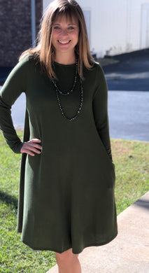 Long Sleeve Swing Dress with Side Pockets - 5 Colors Available!