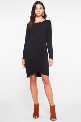 Tulip Hem Long Sleeve Basic Black Dress - Medium