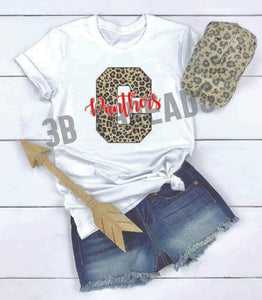 Cabot Panthers Leopard School Spirit Tee - With or Without Flowers Available