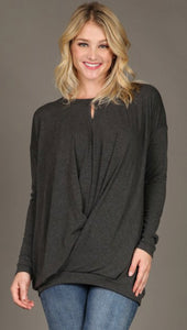 Long Sleeve Keyhole Top - 5 COLORS available in S-XL