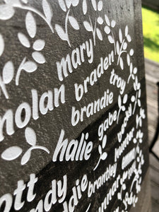 Custom engraved family tree - up to 25 names!