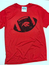 Distressed Football with Panther Mascot Graphic Tee - gray or red