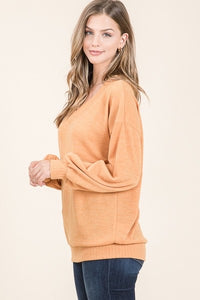 V-Neck Sweater with banded hem and cuff S-XL