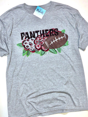 Floral Football Panthers Tee