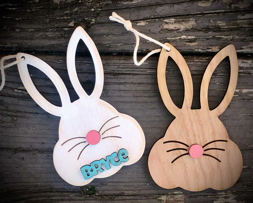 Easter Basket Tags - Bunny Face with 3D name and nose