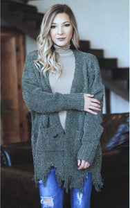 Light Olive Shredded Cardigan (1x/2x Only)