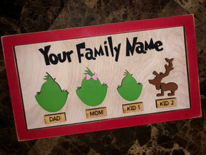 Holiday G rinch Family Sign - 2 sizes (can customize frame/word colors, too)