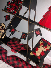 Red and black plaid tiered tray set