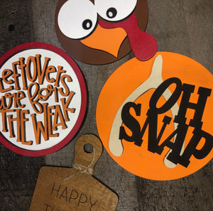 "3D Fun Happy Turkey Day Tiered Tray Set (contains ""Gobble til you wobble"" tag) - Finished or Unfinished Available"
