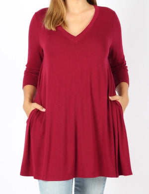 2X 3/4 Sleeve V-Neck Tunic (Dress if you're short) with side pockets (2 colors) - 1x-3x