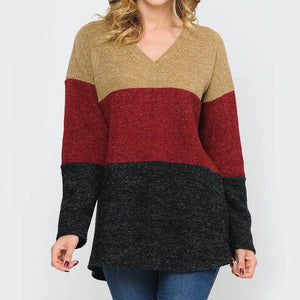 Colorblock V-Neck Lightweight Sweater - 2X & 3X