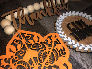 "3D ""Give Thanks"" Thanksgiving Tiered Tray Set - Finished or Unfinished Available"