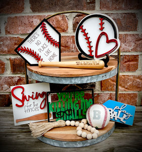 Baseball 3D Set for Tiered Tray - Finished OR Paint it Your Way